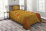 ABAKUHAUS Tiki Bar Tagesdecke Set, Holz Plank Aloha, Set mit Kissenbezug Maschienenwaschbar, für Einzelbetten 170 x 220 cm, Brown Orange Pink