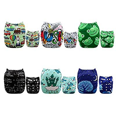 ALVABABY 6 Pack with 12 Inserts Baby Diaper, Pocket Cloth Diapers Reusable Washable Adjustable for Baby Boys and Girls 6DM32
