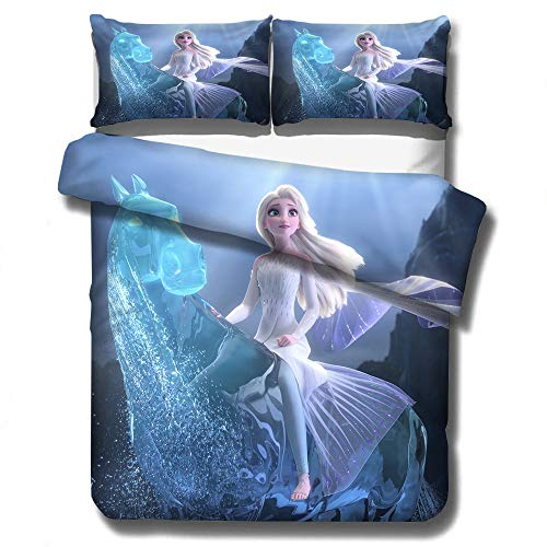 Disney Frozen Baby Kinder-Bettwäsche-Set, 100% Mikrofaser, Elsa & Anna Bettbezug mit Kissenbezügen, für Weihnachten, Heimdekoration und Hotel-Kollektion (P, 135 x 200)