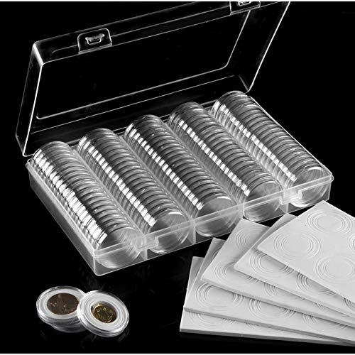 200 capsule per monete (30mm) con 200 guarnizioni in schiuma e 2 scatole di plastica per la raccolta delle monete