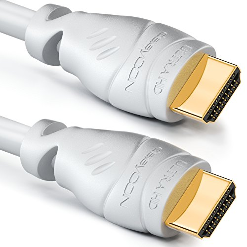 deleyCON 2m HDMI Kabel 2.0a/b - High Speed mit Ethernet - UHD 2160p 4K@60Hz 4:4:4 HDR HDCP 2.2 ARC CEC Ethernet 18Gbps 3D Full HD 1080p Dolby - Weiß