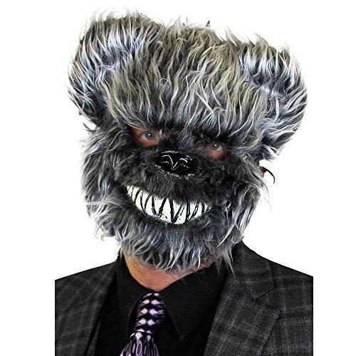 0207VP72KC6 ILOVEFANCYDRESS Masque de Fourrure Ours Gris avec Dents. Halloween déguisement Accessoire