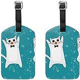 Dibujos Animados Gatos Blancos Imprimir Equipaje Equipaje Maleta Etiquetas Etiqueta de identificación de Cuero para Viajes 2 Piezas