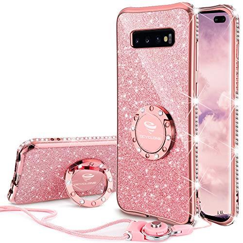 OCYCLONE Galaxy S10 Plus Hülle, Glitzer Diamant Handyhülle mit Trageband und Handy Ring Ständer Schutzhülle für Galaxy S10 Plus Handy Hülle für Mädchen Frauen, [6.4 Zoll] Rosa Gold