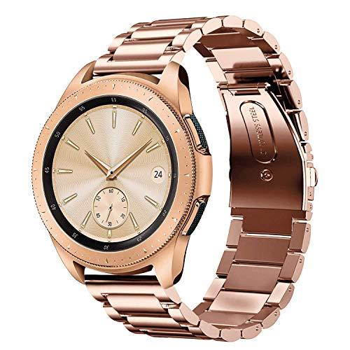 Sundaree Compatible con Correa Galaxy Watch 42MM,20MM Metal Acero Inoxidable Reemplazo Correas Banda Pulseras de Repuesto Smartwatch Correa para Samsung Galaxy Watch 42/Gear S2 Classic(42 Oro Rosa)