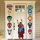 Ticiaga 10pcs Superhero Porch Sign, Hanging Sign Wall Decoration Superhero Party Banner, Door Cardborad Cutout Signs Outdoor Decoration, Hanging Cards Kit for Superhero Theme Party Decoration