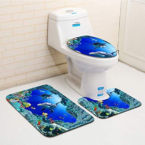 KEAINIDENI toiletmat Zeeschelp Badkamer Toilet Matten Set Dolfijn Badmat Niet Schadelijk Geen Fade Toilet Stoelhoezen 3 stks Voetkussen voor Home Decor 50x80 40x50 35x45 1