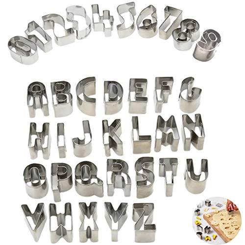 Cookie Fondant Cutters Set, Roestvrij Staal, Mini Alfabet Nummer, 26 Letters Fondant Cutter, 0-9 Arabisch Cijfer Vormen Gebak Koekje Bakken Tool Met Opbergdoos,Numbers + letters