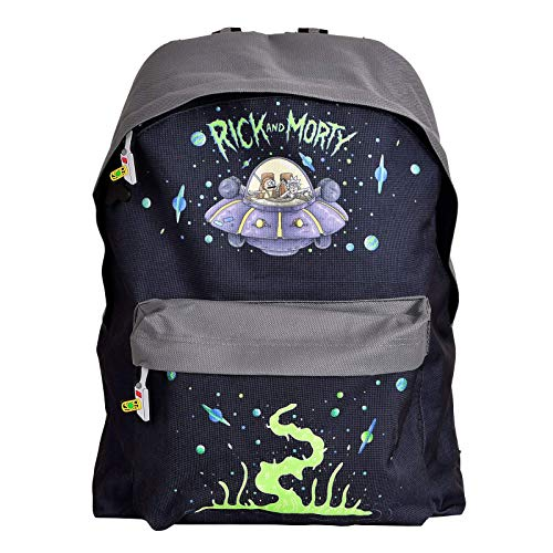 Rick and Morty Mochila con estampado de nave espacial, color morado (Bp537132Rmt) casual, 28 cm, 20 l, color negro