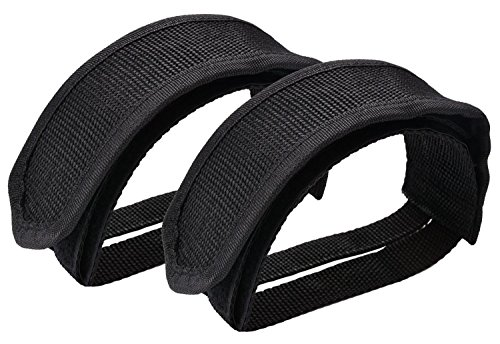 Wommty 1 Pair Bike Pedal Straps Pedal Toe Clips Straps Tape for Fixed Gear Bike, Black