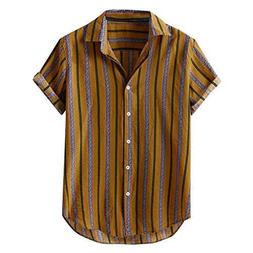 Kanpola Freizeithemd Herren Sommer Hemd Kurzarm Baumwollhemd Streifen Shirt Mit Knopf,Oversize Tshirt Sommerhemden Loose Fit