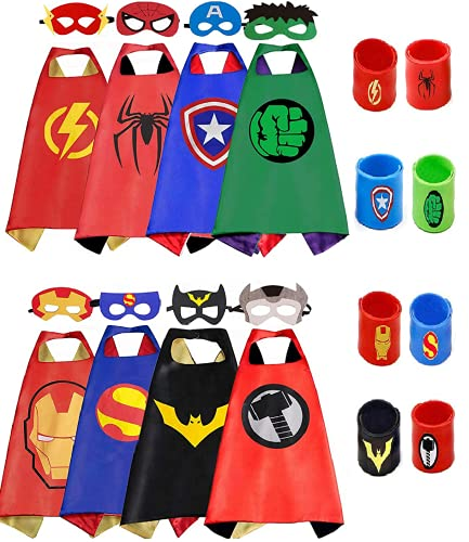 COTATERO Kids Dress Up Superhero Capes Sets & Slap Bracelets for Girl Children Costumes Halloween Birthday Gifts Party 8pcs