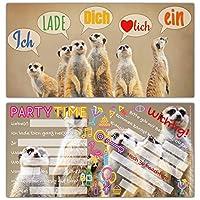 12er Set ERDMÄNNCHEN Einladungskarten - edle & witzige Einladungen zum Kinder-Geburtstag oder Party für Mädchen Jungen & Erwachsene von BREITENWERK