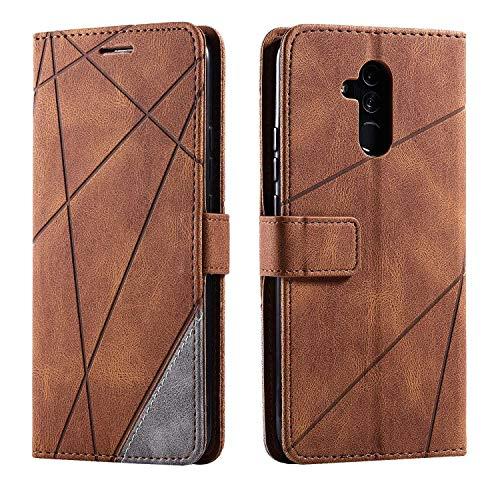 Bear Village Cover Huawei Mate 20 Lite, Flip Custodia con Porta Carte e Funzione Staffa, Antiurto Custodia Portafoglio in PU Pelle per Huawei Mate 20 Lite, Marrone
