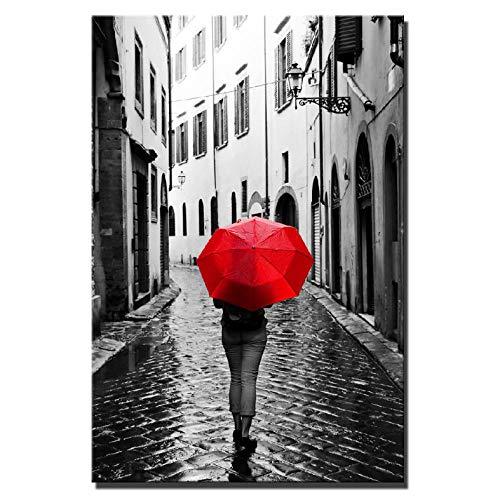 Knncch Realistische Regentage Landschaft Leinwand Gemälde Digital Hd Print Frau Mit Einem Roten Regenschirm Stadt Landschaft Home Decor Bilder Bild-50X70Cm