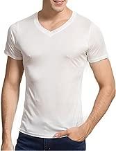 Manka Vesa Men's 100% Pure Silk Knitted T-Shirt Undershirts Slim Casual Tee Tops