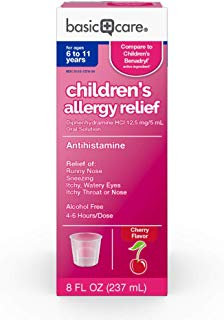 Basic Care Children's Allergy Relief Diphenhydramine HCl Oral Solution, 8 Ounce