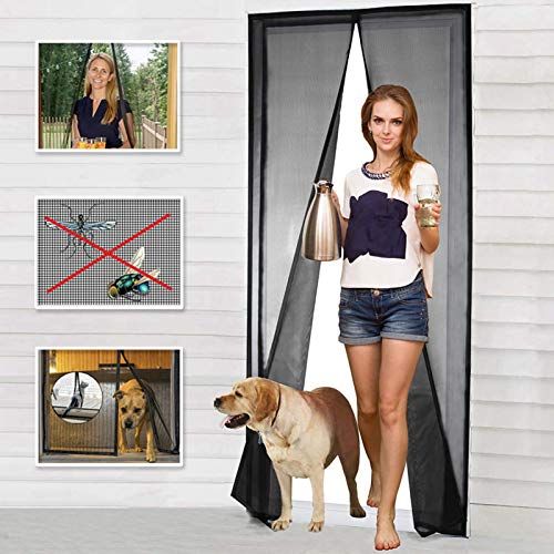 Magnetic Screen Door Fiberglass Mesh Screen Door with Magnets, Fly Mosquitos Bug Insect Screen for Sliding Glass Door French Door Patio Door, Full Frame Hook & Loop, Hands Free, Pet Friendly (36'x82')