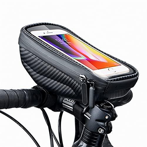 WEIWEIWEI Bolsa de Bicicletas Frame a Prueba de Agua Tubo Delantero Bolsa de Ciclismo 6.9in Funda telefónica Pantalla táctil Bolsa MTB Paquete Accesorios para Bicicletas (Color : B0 Black)