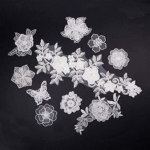 NBEADS 10 Pz Bianco Organza Ricamo Lace Flower Sew On Patches Appliques DIY Craft Pizzo per Decorazioni O Riparazione di Indumenti Zaini Jeans Tappi Scarpe
