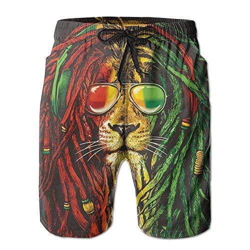 Rock Rasta Lion Herren Sommer Surf Badehose Strand Shorts Hose Quick Dry mit Taschen, XXL