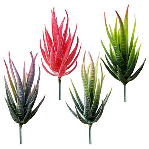 Garneck 4 Stück Mini Künstliche Aloe Sukkulenten Ungetopfte Gefälschte Sukkulenten Wählt Realistische Plastikkaktusstämme für Terrarien-Bulk-Arrangements