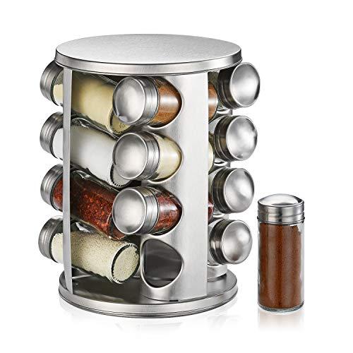 DEFWAY Organizador giratorio para especias – Soporte de acero inoxidable para especias y almacenamiento con 16 tarros de cristal vacíos de 130 ml, estante redondo grande para especias para camping