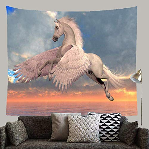N\A Flying White Arabian Pegasus 3D Horse Animals Wildlife Nature Beast Creature Equine Fable Wings Custom Tapestry Wall Hanging Art Decoration for Bedroom Living Room Dorm