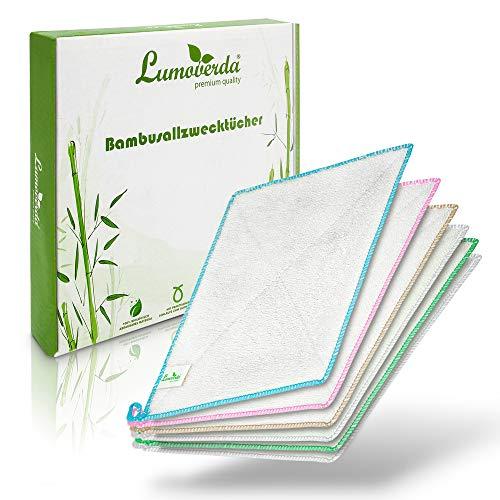 100% zero-waste: Bambus Allzwecktücher im 6er Pack - waschbare Bambustücher für Küche und Bad - saugstarke und langlebige Putzlappen - Putztücher für Ihr Zuhause ohne Mikrofaser