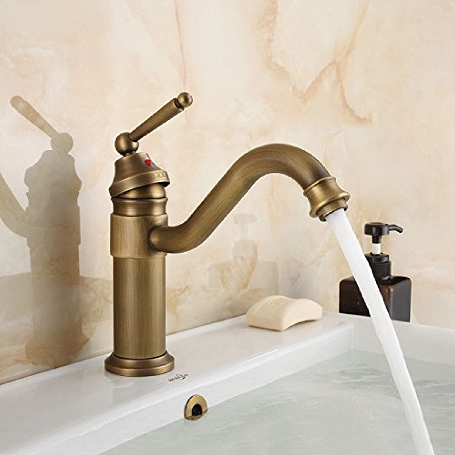 AQMMi Bathroom Sink Faucet Basin Mixer Tap Swivel Single Handle Hot and Cold Water Single Hole Basin Sink Tap Bathroom Bar Faucet