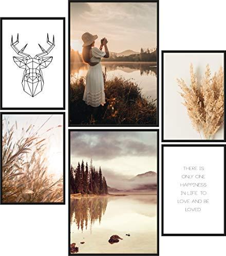 Papierschmiede® Mood-Poster Set Herbst | Bilder als Wanddeko | Wohnzimmer & Schlafzimmer | 2X DIN A3 und 4X DIN A4 | Jahreszeit Laub Wetter Braun - ohne Rahmen