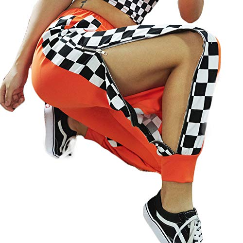 UR MAX BEAUTY Pantalones De Harén A Cuadros con Cremallera Lateral Naranja para Mujer, Pantalón De Calle Hip Hop De Cintura Alta con Bolsillo,L
