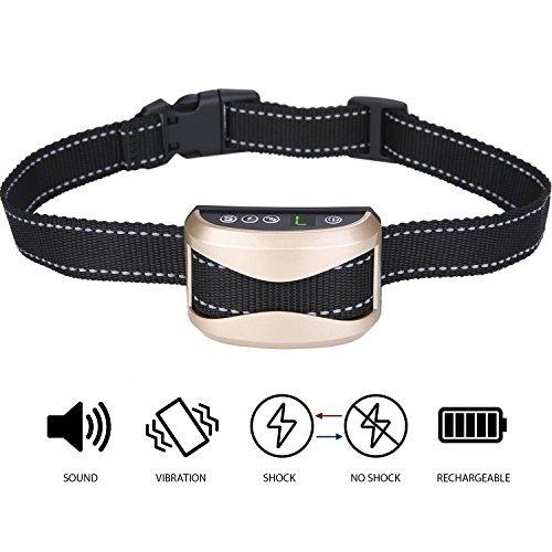 AuAg Bark Collar Adjustable 7 Sensitivity 3 Modes Rechargeable Rainproof No Bark Training Collar Humane Shock Vibration Modes for Small Medium Large Dogs Anti-Bark Collar Lighting Deal until 11 PM