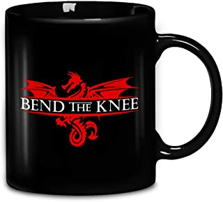 Bend The Knee Jon Snow With Daenerys Targaryen GOT Dragon Coffee Mug 11oz & 15oz Gift Black Tea Cups
