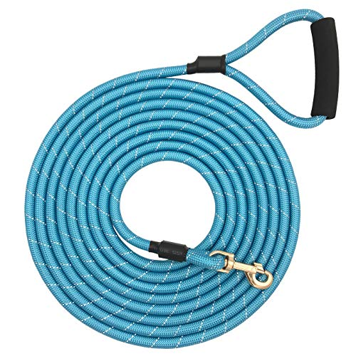 Shorven Nylon Strong Dog Rope Lead Reflective Training Dog Leash with Soft Handle 8-20 FT Long Aqua Blue (Dia:0.5' 20FT)