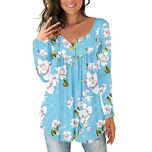 Damen Bluse Langarm Mode Druck T-Shirt Tops Casual Bluse Knopf V-Ausschnitt Plissee...