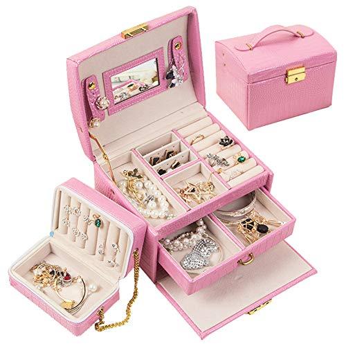 PU Schmuckkästchen für Frauen DREI Etagen Schmuckkoffer mit Schloss Eingebauter Reiseschmucketui Samtfutter Zur Aufbewahrung von Schmuck,Pink