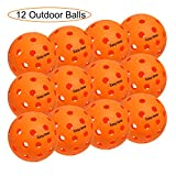 EasyTime Outdoor Pickleball Balls 40 Small Precisely Drilled Holes Perfect for Outdoor Pickleball Games (Outdoor-12 Pack)