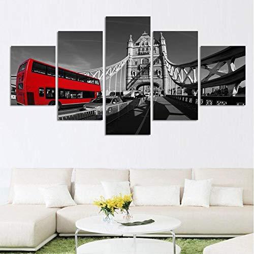 MSDEWLH 5 stuks canvas paneel schilderen zwart wit stijl landschap druk muurkunst interieurvoorwerpen Hd Bridge rood bus afbeelding 8x14inch 8x18inch 8x22inch Frame