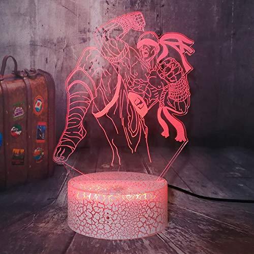 Luz nocturna LED Lee sin 3D para ados,Poing ciego,Crack Base 7 colores Mando a distancia Decoración de escritorio para niños Idea regalo recuerdo para los amantes de los juegos (LOL Lee Sin)