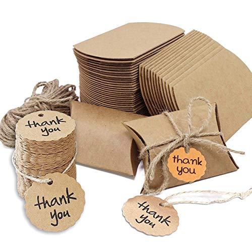 Cajas de Papel Kraft Vintage, 100 Piezas Cajas para Regalo con tarjeta de agradecimiento Bolsas de Regalo Cajas Vintage Kraft envolver cajas de dulces de regalo para Boda Fiesta