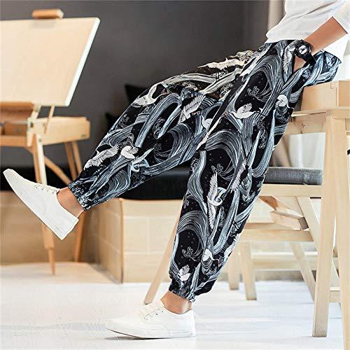 SYXYSM Moda Hombre Estilo Japonés Grúa Imprimir Pantalones De Pierna Ancha Harajuku Ukiyo-e del Verano Los Pantalones del Harem De Asia Kimono Yukata For Hombre (Color : Color3, Size : 5XL)