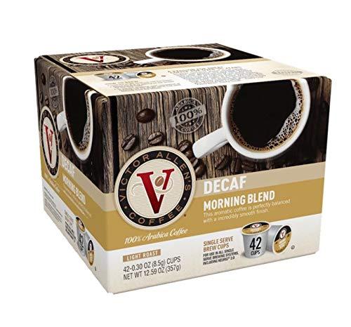 Victor Allen's Coffee 42 K-Cups Capsule Pods KEURIG Machine Single Serve Light / Medium / Dark Roast Flavored Fresh Box (All Flavors) (42 K-Cups DECAF Morning Blend (Light))