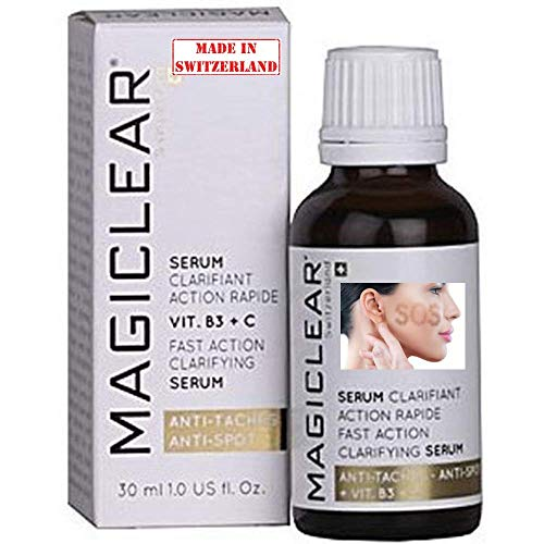 Luxury Dark spot remover for Face and Body Serum - Anti spot corrector Acne scar treatment - Anti aging - Whitening Lightening Bleaching Vitamin C - Best Swiss brand Magiclear 30 ml 100% result
