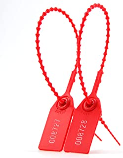 Leadseals(R) 500 PCS Anti-Tamper Security Seal Tags, Zip Ties for Fire Extinguishers Pull Tite Security Tags Numbered Disposable Self-Locking Straps 250mm Length (Red)