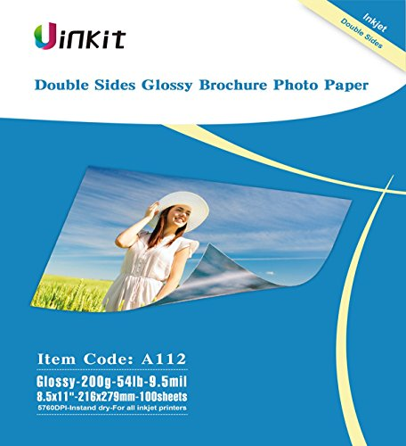 Double Sided Glossy Inkjet Photo Paper - Uinkit 8.5x11 Inches 9.5Mil 200g For Inkjet Printing Only - 100sheets