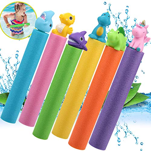 6 Pack Water Blaster Gun Set, Foam Water Squirt Guns Shooter Summer Pool Toys for Kids and Adults,...