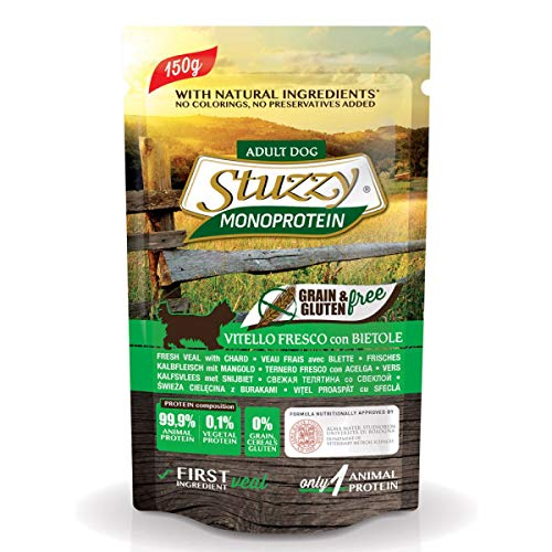 Stuzzy Monoprotein Grain & Gluten Free, ternera fresca con betolas, 150 g ⭐