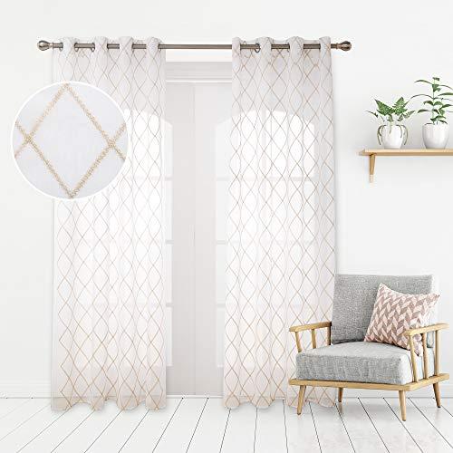 Deconovo Cortinas Visillos para Ventana Cortina Transparente con Ojales para Dormitorio y Salón 2 Piezas 140 x 229 cm Lino
