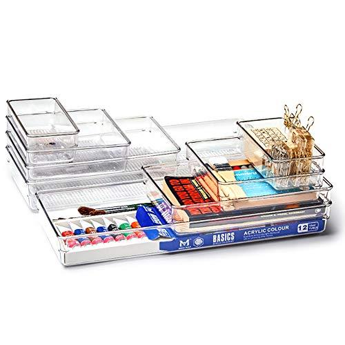 EZOWare Set di 8 Organizzatore de Cassetto, Contenitori Divisori Portaoggetti Impilabili in Plastica Trasparente per Vanità, Scrivania, Cucina, Bagno, Trucchi, Armadio - 4 Dimensioni Large